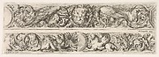Two Designs for Friezes with Acanthus Scrolls, Each with a Variant, Plate 4 from: 'Decorative friezes and foliage' (Ornamenti di fregi e fogliami)