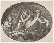 Venus and Cupid and two other goddesses seated on a cloud under an arch and accompanied by a putto, an oval composition, from a series of eight compositions after Francesco Primaticcio's designs for the ceiling of the Ulysses Gallery (destroyed 1738-39) at Fontainebleau