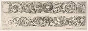 Two Frieze Designs with Acanthus Scrolls combined with a Lion and Eagle on top and Two Rams below, Plate 5 from: 'Decorative friezes and foliage' (Ornamenti di fregi e fogliami)
