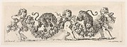 Design for a Frieze with Three Putti holding a Garland and Two Leopards jumping over it, Plate 16 from: 'Decorative friezes and foliage' (Ornamenti di fregi e fogliami)