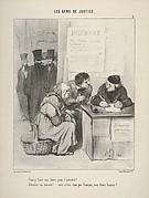 """""""Faut-y faire une lettre pour l'attendrir?.../ Attendrir un huissier!..vous n'êtes donc pas français, mon brave homme?...."""" , plate 5 from Les Gens de Justice"""