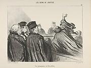 """""""Une péroraison à la Démosthène,"""" plate 33 from Les Gens de Justice"""