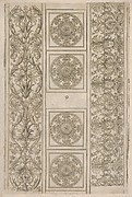 Sheet of border segments: vertical floral ornament, horizontal frieze, four corners
