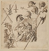 Sheet with Two Figural Compositions and Studies of Helmets and Arms