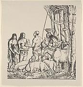 Right Side of Hottentots with Herd, from Set of Exotic Races, in Holzschnitte alter Meister gedruckt von den Originalstöcken der Sammlung Derschau im besitz des Staatlichen Kupferstich-kabinetts zu Berlin