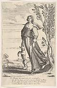 A shepherdess walking towards the left and petting her dog that is standing on its hind legs, a tree to right, farmland with goats and sheep to left in the background,