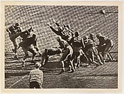 "Notre Dame's ""Quick Kick"" Against Army, 1934, from the ""Baseball and Football"" set (R311), issued by the National Chicle Company to promote Diamond Stars Gum"