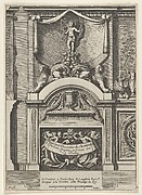Fireplace Surmounted by a Cupid Holding a Palm and an Olive Branch