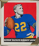 "Bobbie ""Blonde Bomber"" Layne, from the All-Star Football series (R401-2), issued by Leaf Gum Company"