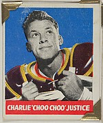 "Charlie ""Choo Choo"" Justice, from the All-Star Football series (R401-2), issued by Leaf Gum Company"