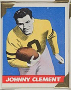 Johnny Clement, from the All-Star Football series (R401-2), issued by Leaf Gum Company