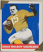 "Steve ""Big Boy"" Van Buren (yellow jersey), from the All-Star Football series (R401-2), issued by Leaf Gum Company"