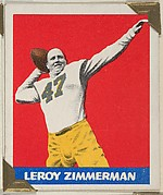 Leroy Zimmerman, from the All-Star Football series (R401-2), issued by Leaf Gum Company