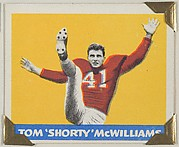 "Tom ""Shorty"" McWilliams, from the All-Star Football series (R401-2), issued by Leaf Gum Company"