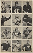 Sheet of 12 uncut football cards, from the Bowman Football series (R407-1) issued by Bowman Gum