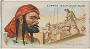 Edward Teach (Black Beard), Walking the Plank, from the Pirates of the Spanish Main series (N19) for Allen & Ginter Cigarettes