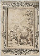Rhinoceros in a Landscape within an Ornamental Frame
