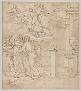 Tapestry Design with the Venus seeking help from Juno, Ceres and Jupiter