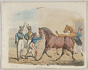 Two Soldiers of a Cavalry Unit, with Horses and Grooms