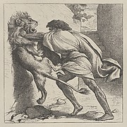 Samson and the Lion (Dalziels' Bible Gallery)