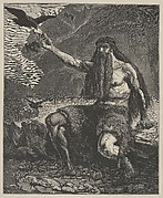 Elijah Fed By Ravens (Dalziels' Bible Gallery)