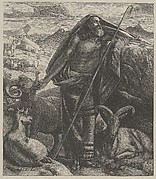 Moses Keeping Jethro's Sheep (Dalziels' Bible Gallery)