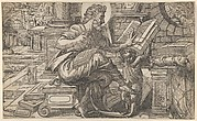 Saint Matthew seated and reading from a book held by a putto, set within a fanciful architectural backdrop, from a series of woodcuts of the Four Evangelists, copy after Rue Montorgueil woodcut