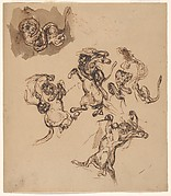Studies of a Rearing Horse Attacked by a Lion; A Lion Wrestling with a Serpent