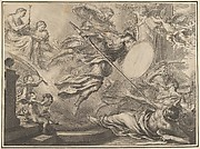 Minerva armed with a shield and lance attacking three nearly prone figures