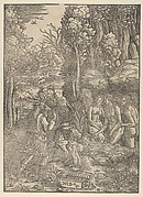 Diana turning Actaeon into a stag, in the background town before which is the hunt of Diana
