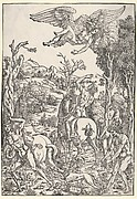 Zeus abducting Ganymede, horses, dogs and other figures below, set within a landscape