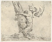 Flying Cupid Whipping a Satyr