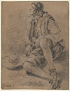 A Young Man Seated on the Ground