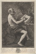 Saint Jerome in the Wilderness, seated, writing and meditating over a crucifix