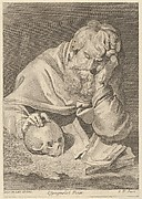 A saint seated at a table with his right hand resting on a human skull