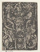 Panel with Grotesque Candelabrum Containing a Mask, a Couple of Tritons and Two Children