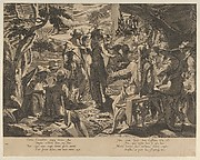 A Moonlit scene depicting the Areopagite judged of Athens, from Thronus Justitiae, tredecim pulcherrimus tabulis..., plate 8