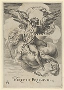 Winged genius seated on a cloud, sounding a trumpet with his left hand extended upwards