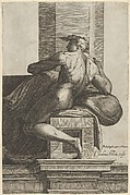 A naked man (Ignudo), seated and facing left, after Michelangelo's  'The Last Judgment' fresco in the Sistine Chapel
