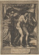 The Expulsion of Adam and Eve with an angel wielding a sword behind them