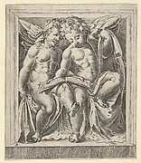 Two seated angels, facing left, reading from a song book, from The Angels' Concert