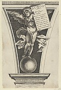 Winged putto holding a dedicatory plaque standing on an orb in an architectural detail