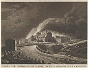 View of the Convent of San José in Saragossa set alight after bombing by the invading French army during the Napoleonic war in Spain