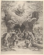 The Adoration of the Shepherds with the Christ Child at center and angels above