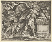 The Sacrifice of Isaac set in a landscape with a flock of sheep at left and an angel guiding Abraham's sword at upper left