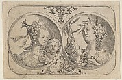 Horizontal Panel with Two Medallions Containing Cupid