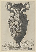 Plate 2: Two-handled vase with a nude figure on a pedestal at center, from Antique Vases
