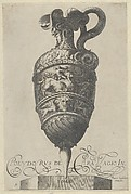 Plate 5: Vase with a bull and a nude man and foliate designs, from Antique Vases