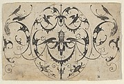 Blackwork Design for Goldsmithwork with Grotesques, Garlands, and Birds