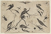 Blackwork Design for Goldsmithwork with Monkey, Birds, and Insects